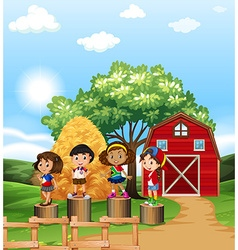 Scene with kids in the farm vector