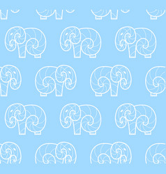 seamless pattern of white simple elephant vector image vector image