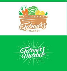 set of farmers market hand written lettering logos vector image