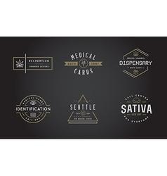 Set of medical cannabis marijuana sign or label vector
