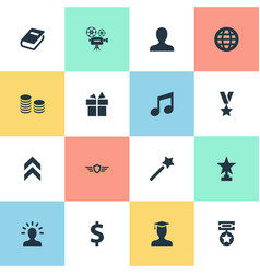 Set of simple reward icons vector