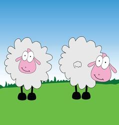 sheep cartoon on a grass vector image vector image