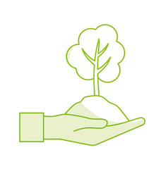 Silhouette hand with natural tree and ground icon vector