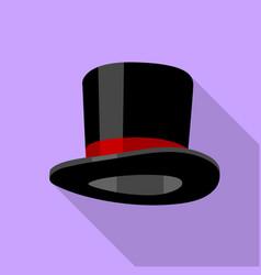 Silk hat icon flat style vector