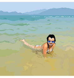 smiling girl in sunglasses lying in water vector image vector image