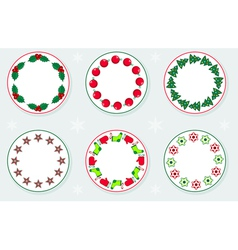 Stickers With Christmas Wreaths vector image