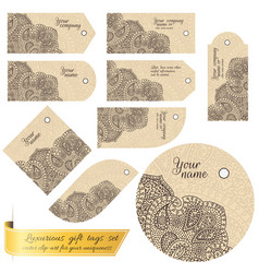 tag set with lace for gifts and goods vector image vector image