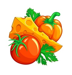 Tomato pepper vegetables and vector image