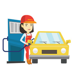 Worker filling up fuel into car at the gas station vector