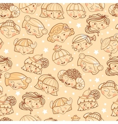 Zodiac signs girls seamless pattern background vector