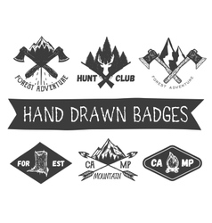 Set of hand drawn forest camp labels in vector