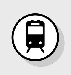 train sign  flat black icon in white vector image