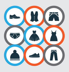 Garment icons set collection of dress pants vector