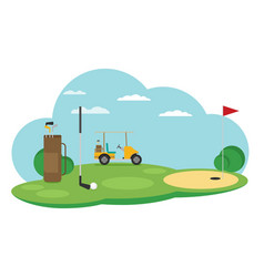 Golf flag with ball flat style design - vector