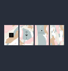 Set of abstract creative handmade greeting cards vector