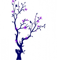 oriental cherry with birds vector image