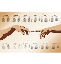 2014 creation of adam Calendar vector image vector image