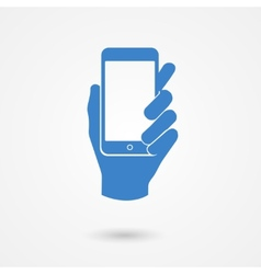Blue icon with hand holding a smart mobile phone vector