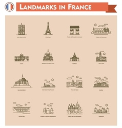 France landmarks icon set vector