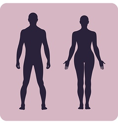 Full length front human silhouette set vector