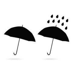 Umbrella silhouette and water drop vector