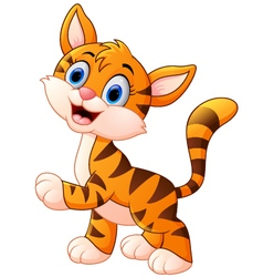 Cute baby tiger cartoon vector