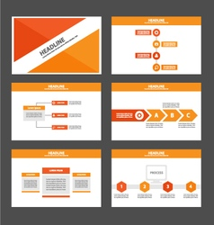 Orange red presentation templates infographic set vector