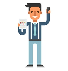 A guy with smartphone and paper with data charts vector