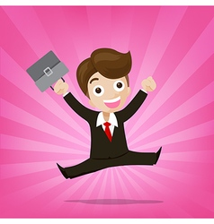 Businessman jumping with joy on sunburst pink vector