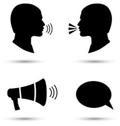 Talk or speak icons loud noise symbols vector