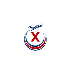 Airplane logo initial x vector