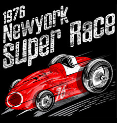 American car race vintage classic retro man t vector