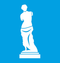 Ancient statue icon white vector
