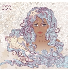 Aquarius as a portrait of beautiful african girl vector image vector image