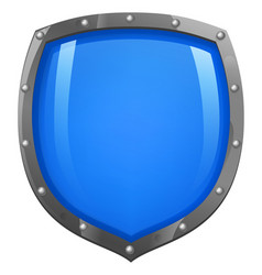 blue shiny glossy shield vector image