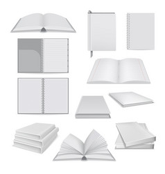 Book notepad mockup set realistic style vector