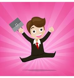Businessman jumping with joy on sunburst pink vector image