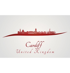 Cardiff skyline in red vector