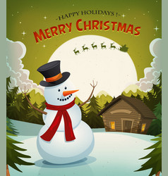 christmas eve with snowman background vector image