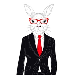 Cute rabbit boy in elegant black suit with glasses vector