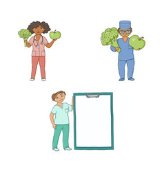 Doctors with giant apple broccoli medical card vector