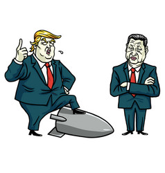 Donald trump and xi jinping cartoon vector