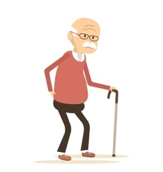 Elderly Man Suffering From Back Pain vector image vector image