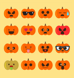 Emoji halloween pumpkin vector