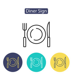 empty plate with knife and fork on a white vector image