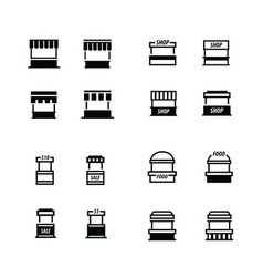 fast food trolley icons set vector image vector image