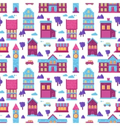 Flat city houses seamless colorful pattern vector image
