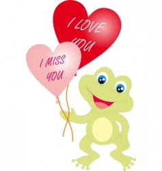 frog with hearts vector image vector image