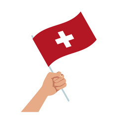 Hand holding flag of switzerland symbol national vector
