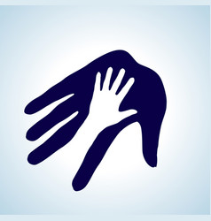 Hand in hand in white and blue help assistance vector